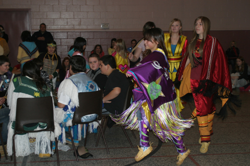 The RCDSB Native Language students take part in the Women's Traditional dance.