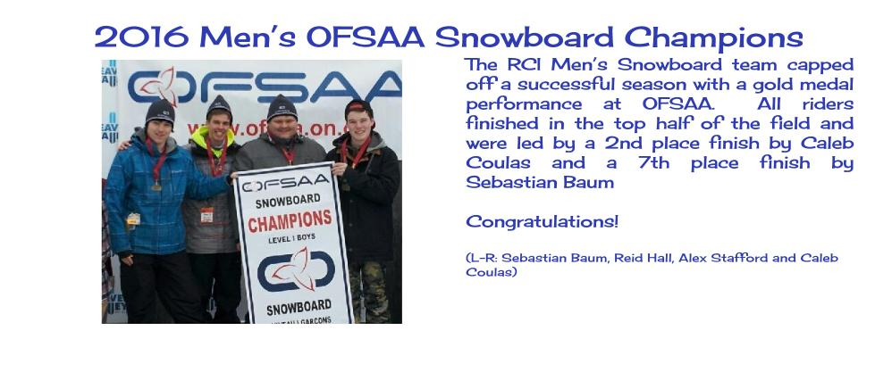 2016 Men's OFSAA Snowboarding Gold Medalists