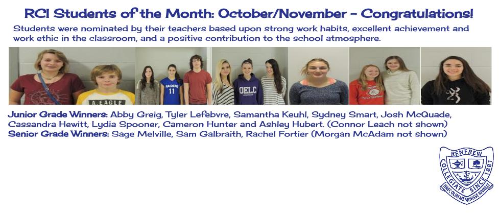 RCI Students of the Month - October/November 2015